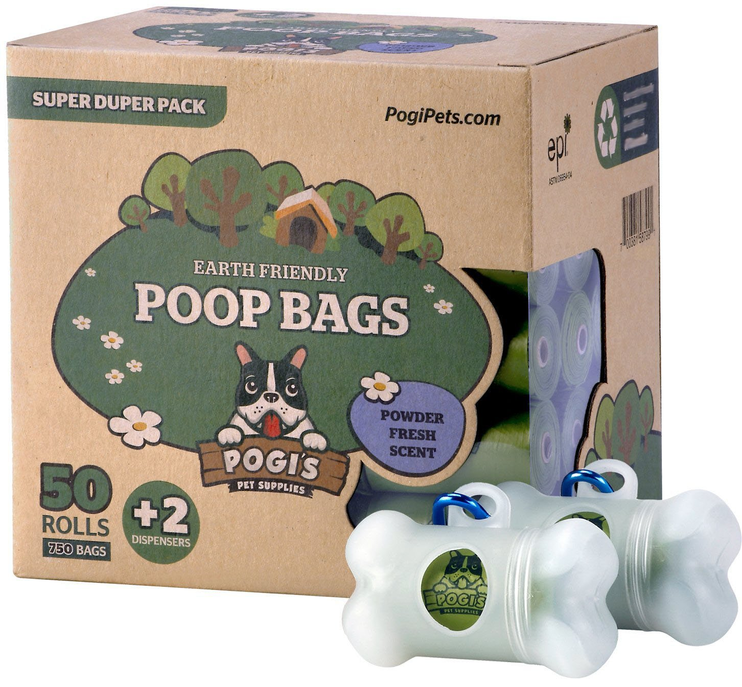 Pogis Poop Bags - 50 Rolls (750 Bags) +2 Dispensers - Earth-