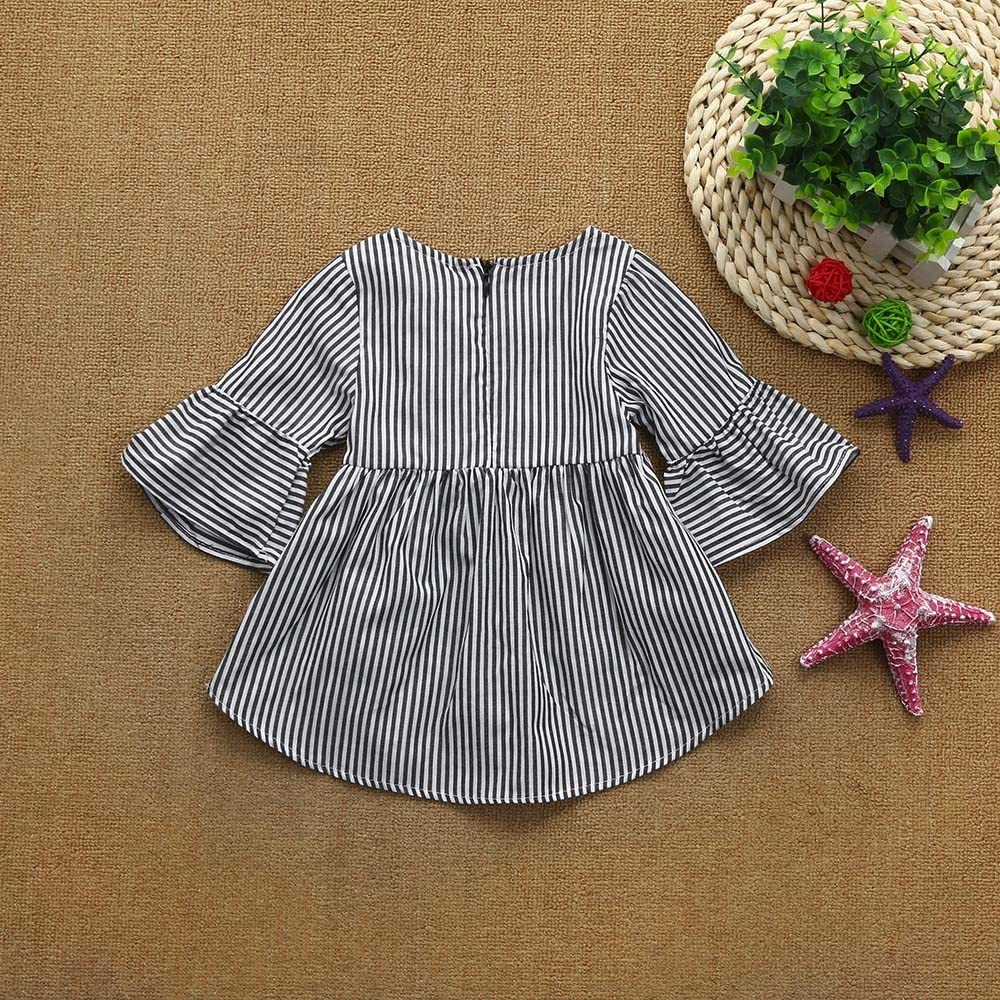 Hongxin Girl Dress Toddler Kids Clothes Stripe Princess Dress Flare Bell Sleeve Tops Outfits
