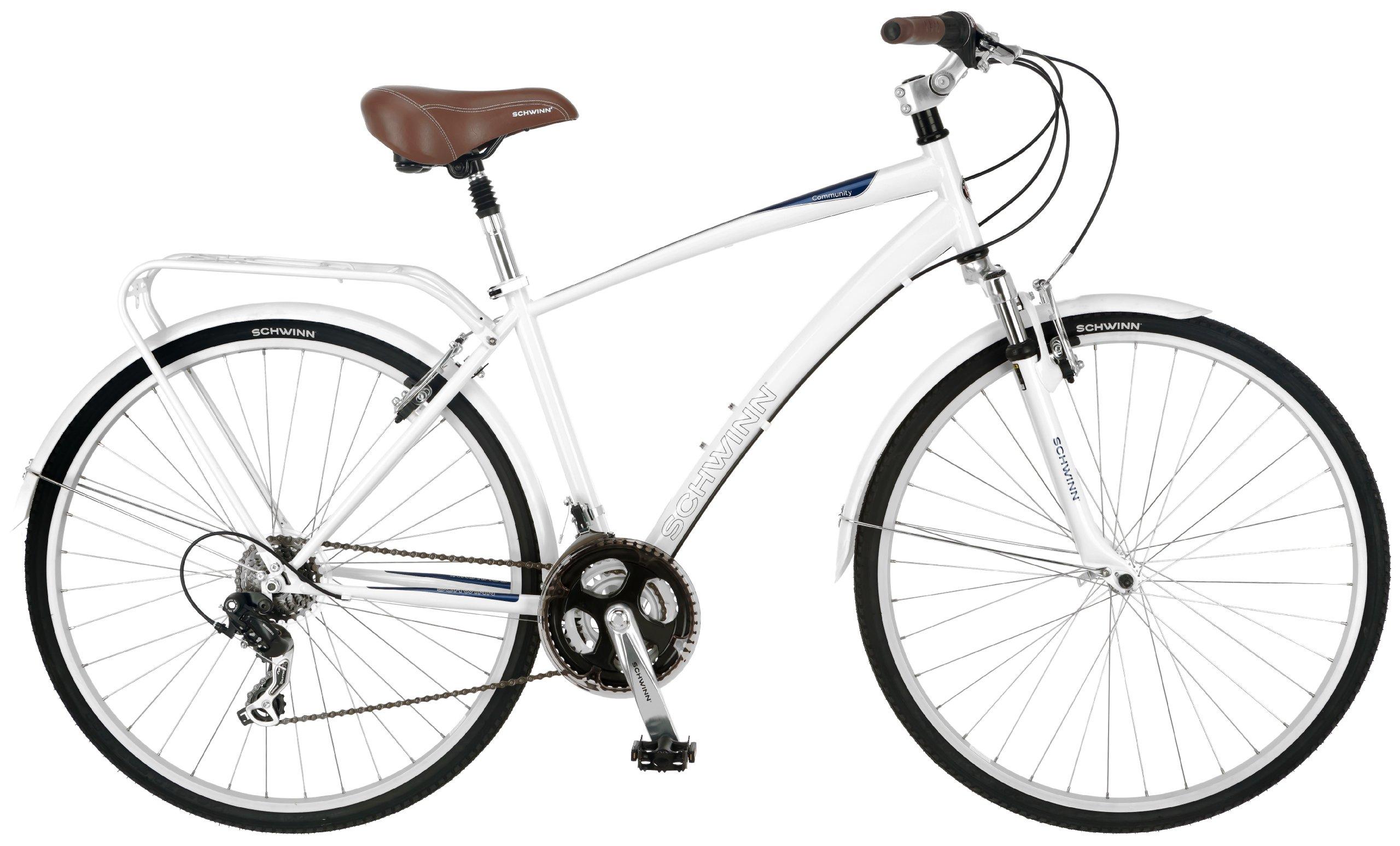 Schwinn Men's Community 700c Hybrid Bicycle, White, 18-Inch Frame by Schwinn (Image #1)