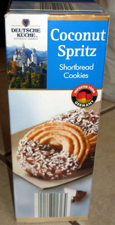 Amazon Com Deutsche Kuche Coconut Spritz Shortbread Cookies 10 6 Oz