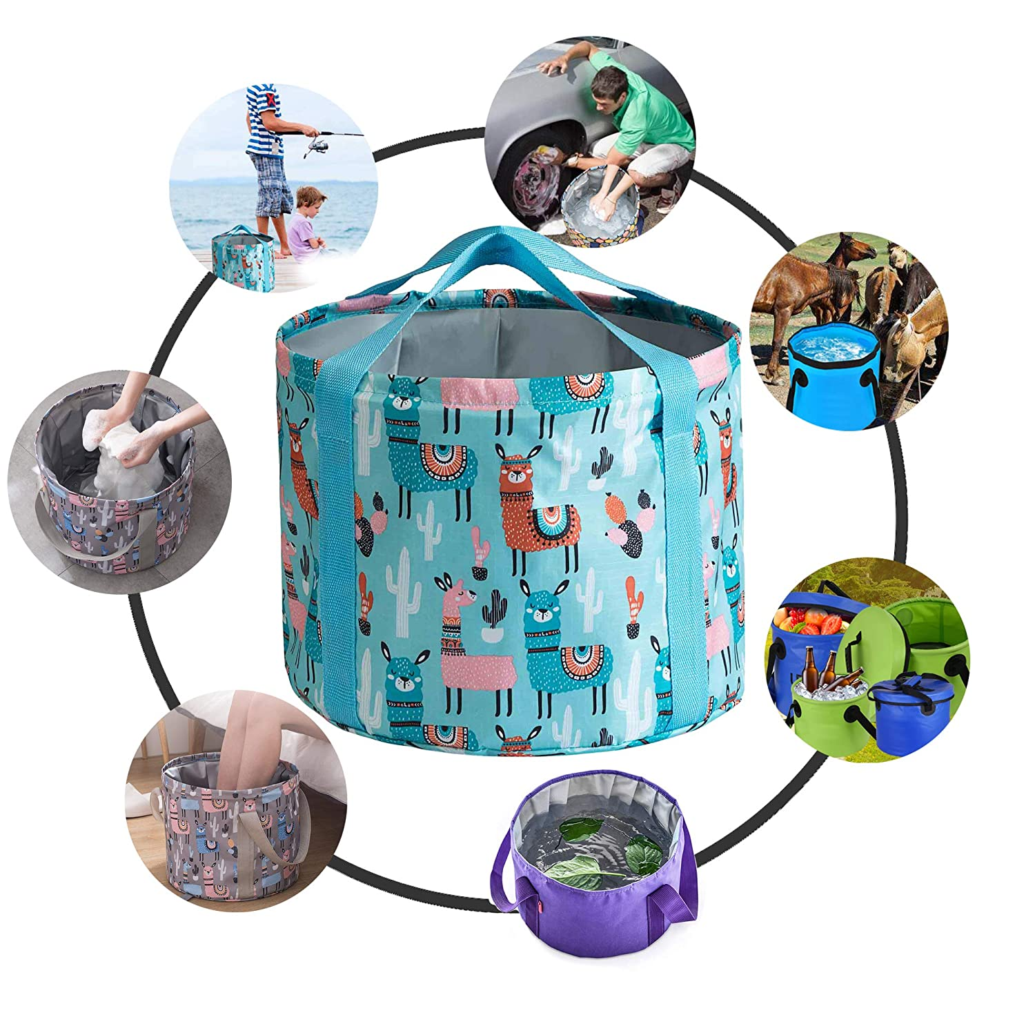 Wendy1860 Collapsible Bucket,Portable Folding Bucket Water Container Fishing Bucket 21//26L Large Size with Carrying Bag for Indoor Outdoor Cooking Picnic Camping Hiking Traveling