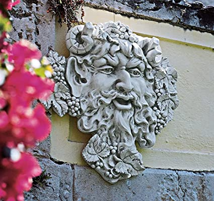 Design Toscano Bacchus, God of Wine Greenman Wall Sculpture, Large, 19  Inch, Polyresin, Antique Stone