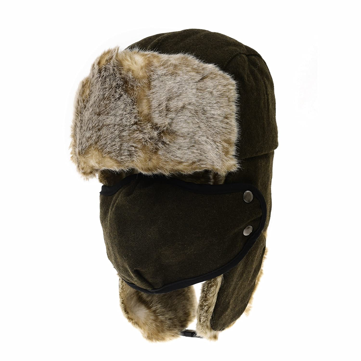 WITHMOONS Wool Russian Hat Winter Trapper Cap Faux Fur AC7140 (Green) at  Amazon Men s Clothing store  46855f6a2