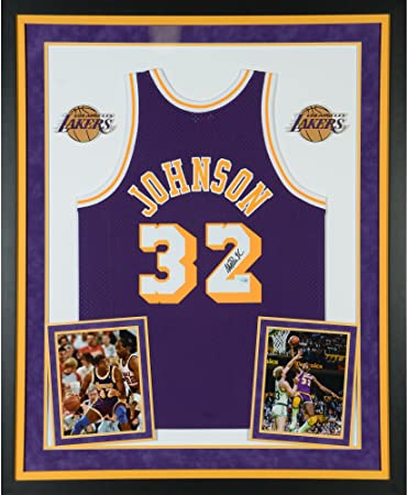 d53600673 Image Unavailable. Image not available for. Color: Magic Johnson Los  Angeles Lakers Deluxe Framed Autographed Purple Mitchell & Ness Hardwood  Classics ...