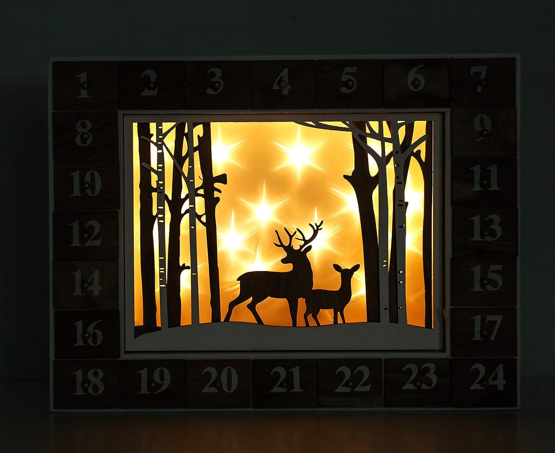 Brubaker Calendario dellAvvento Foresta Bosco Bosco Bianco Natura con Illuminazione a LED 35,5 x 6 x 27 cm