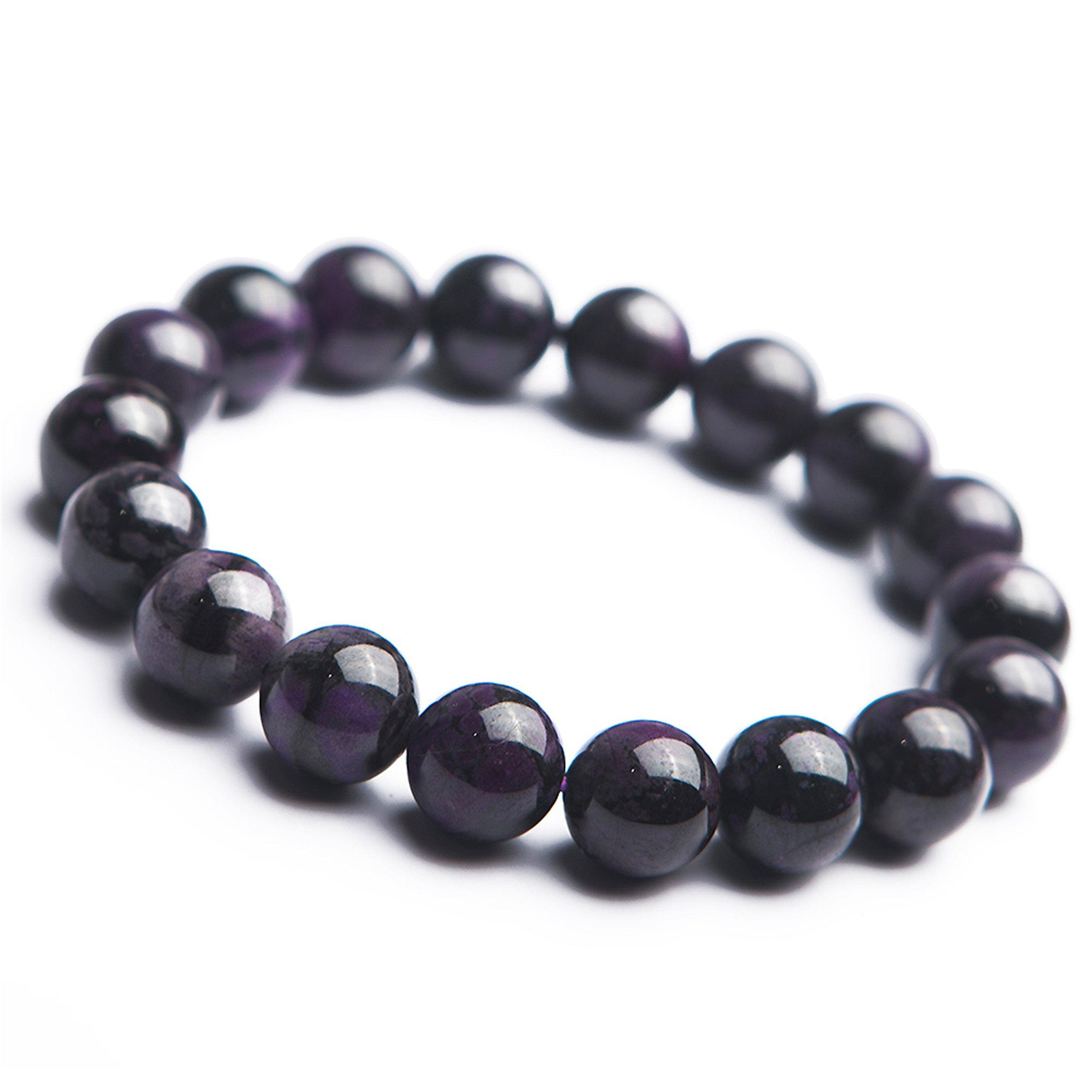 South African Purple Natural Sugilite Gemstone Round Bead Bracelet 13mm