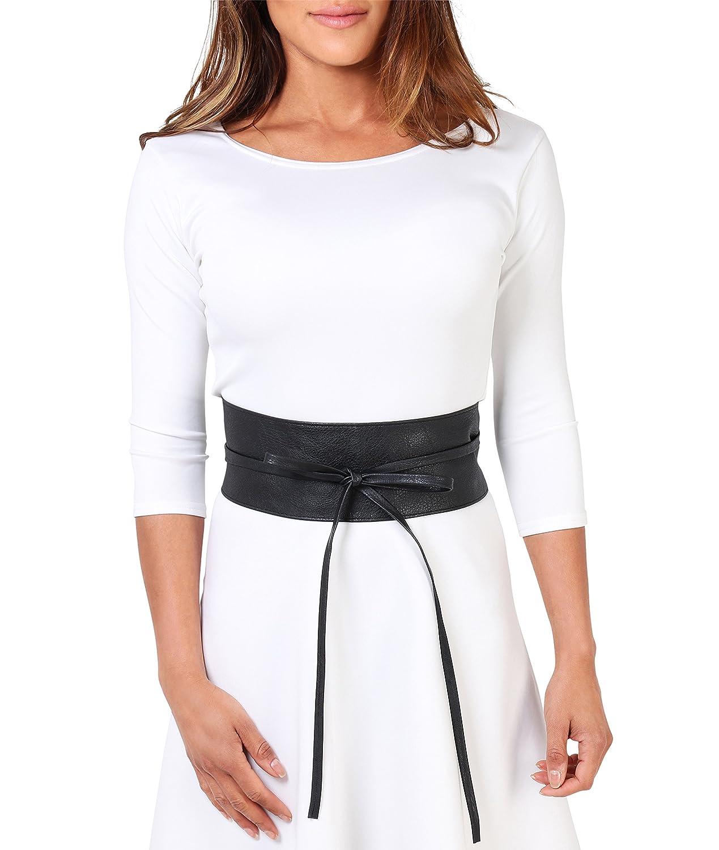 KRISP Womens Soft Faux Leather Self Tie Wrap Around Obi Waist Band Cinch Belt