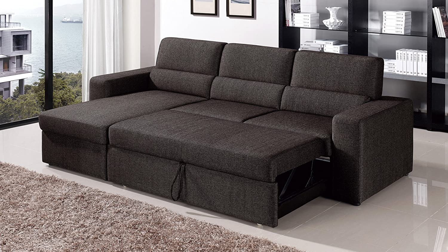 Amazon Com Black Brown Clubber Sleeper Sectional Sofa Left Chaise Kitchen Dining