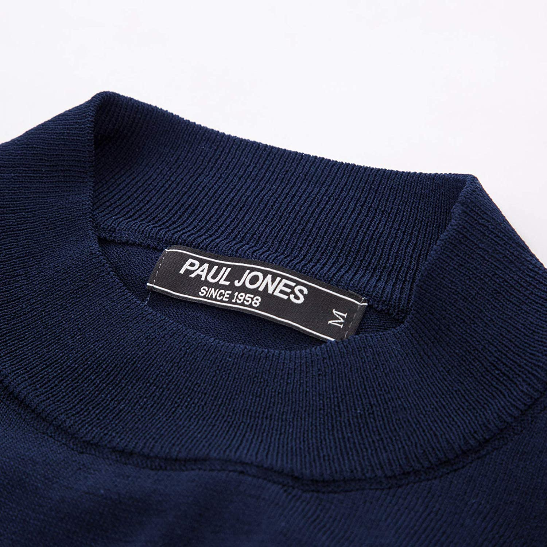 PAUL JONES Mens Solid Knitting Pullover Sweater Short Sleeve Lightweight Mockneck Sweater