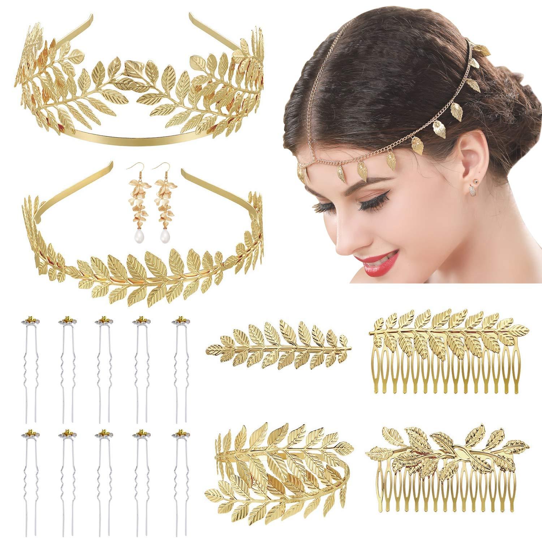 Chain Leaf Crown Grecian Head Piece Leaves Headband Wedding Wreath Gold Bridal Headband Roman Bridal Hairpiece Bridal Hair Accessory