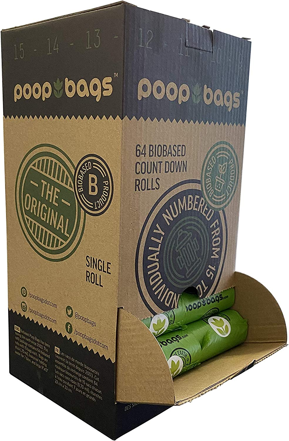 The Original Poop Bags SuperBox con 960 bolsas de caca biológicas USDA.