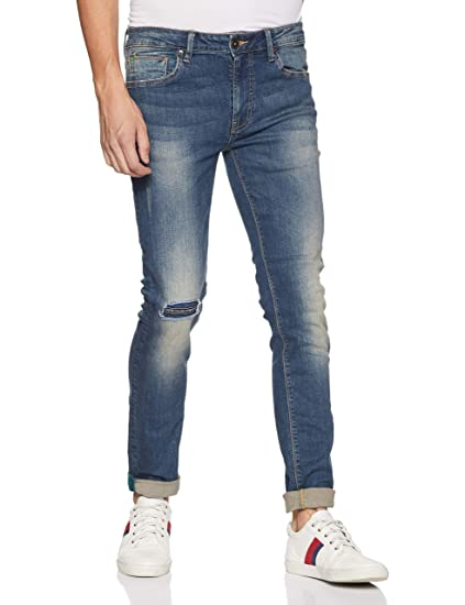 United Colors of Benetton Men s Skinny Fit Jeans (18A4L23R9070I Blue 36W x  ... 57784ce82a88