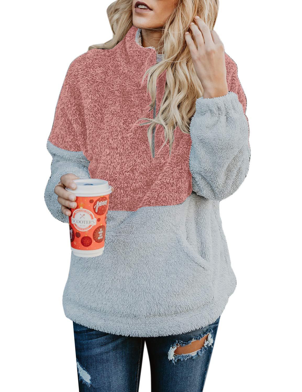 ACKKIA Womens Dark Pink Long Sleeve Fleece Zip Sweatshirt Color Block Pockets Sherpa Fuzzy Outwear Pullover L(US 12-14)