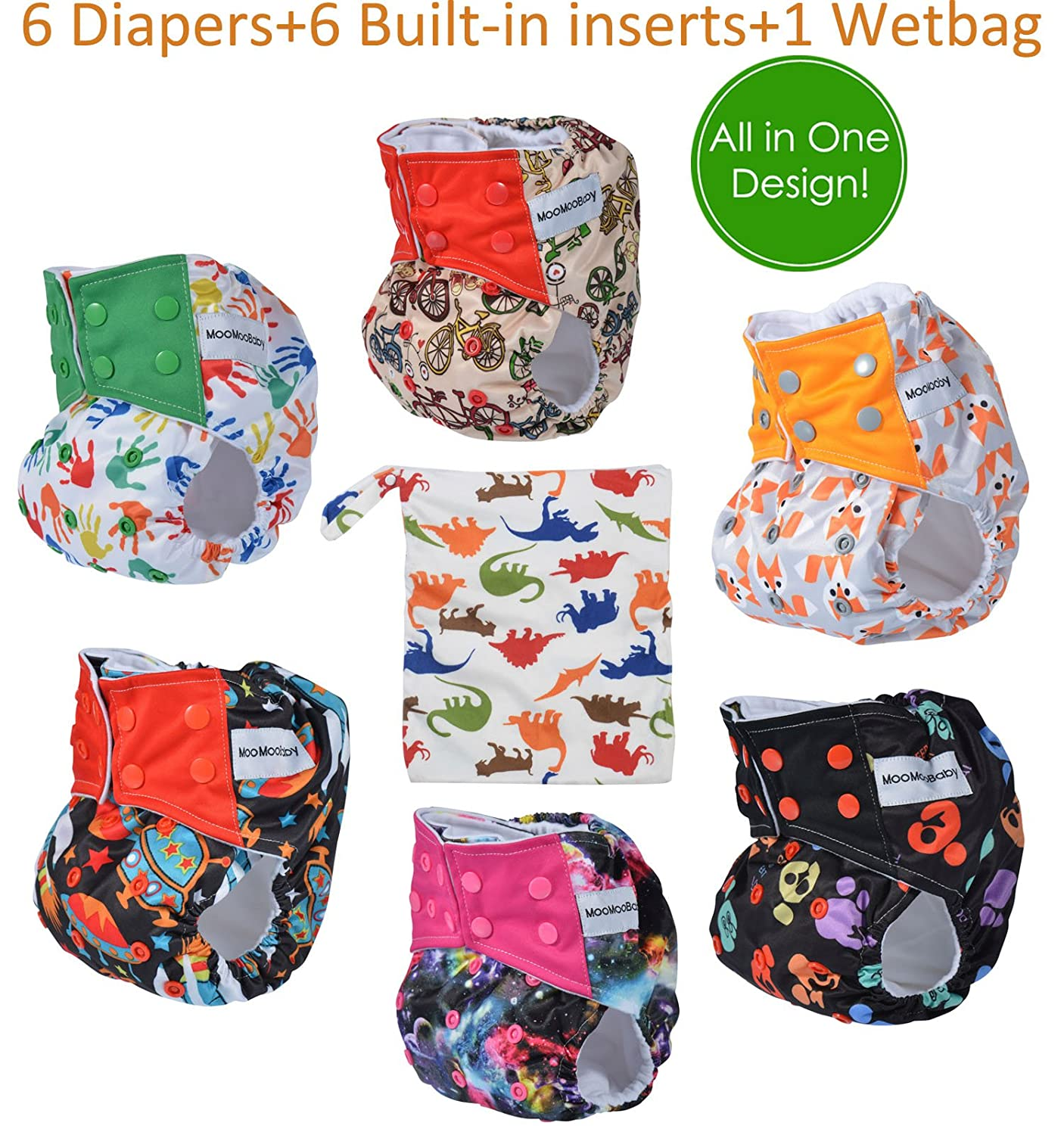 Amazon.com : All in One Shell-Snap Cloth Pocket Diapers, Adjustable Size, 6  Pack with 6 Built-in Inserts and 1 Diaper Bag : Baby