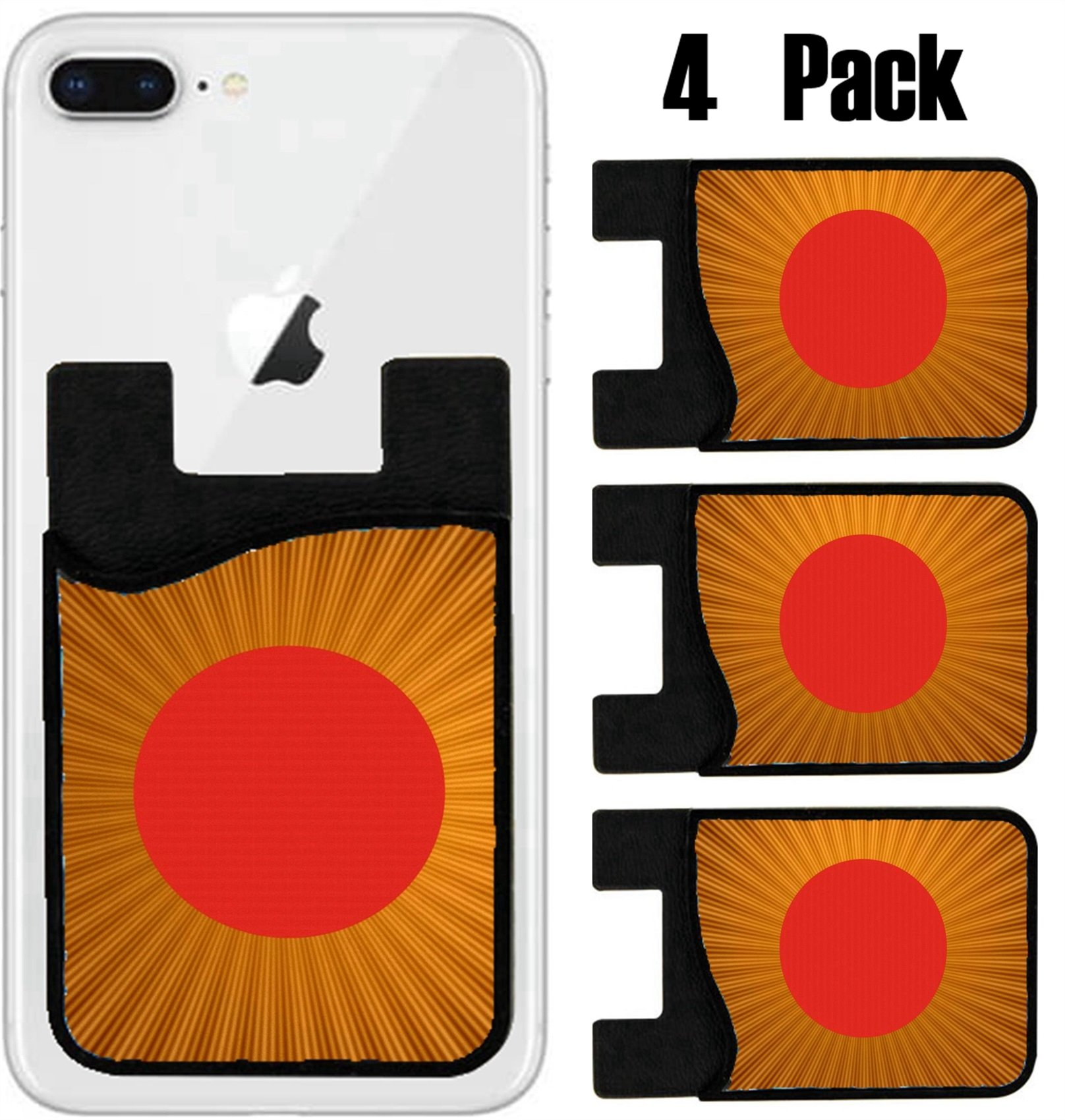 MSD Phone Card holder, sleeve/wallet for iPhone Samsung Android and all smartphones with removable microfiber screen cleaner Silicone card Caddy(4 Pack) Space warp travel through orange gold abstract