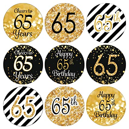 Amazon DISTINCTIVS Black And Gold 65th Birthday Party Favor Labels