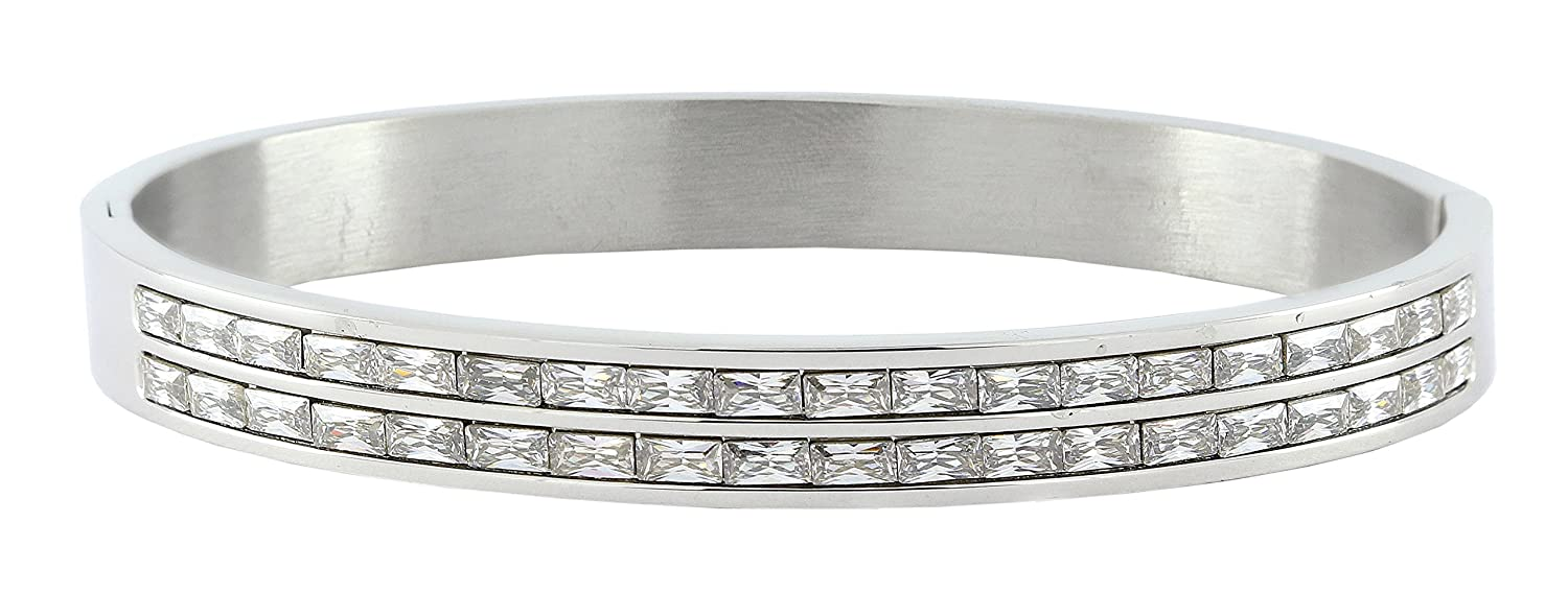 The Jewelbox Classic American Diamond CZ Surgical Stainless Steel Openable Kada Bangle Bracelet for Men