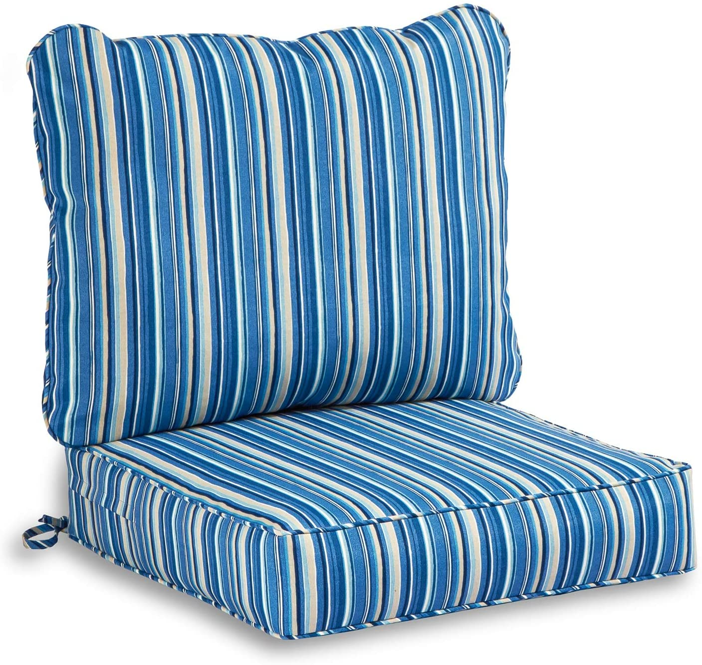 South Pine Porch AM7820-SAPPHIRE Sapphire Stripe 2-Piece Outdoor Deep Seat Cushion Set