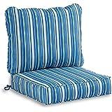South Pine Porch AM7820-SAPPHIRE Sapphire Stripe 2-Piece Outdoor Deep Seat Cushion Set