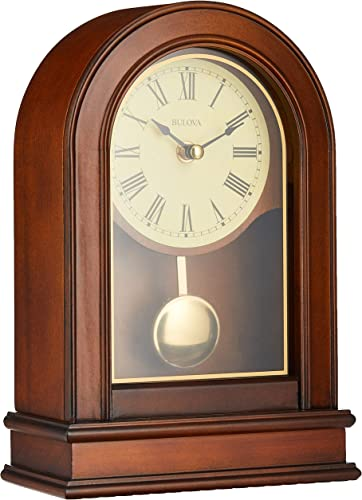 Bulova B7467 Hardwick Clock, Walnut Brown