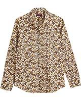 Dioufond Camisa de Mujer Manga Larga de Algodón Hojas Patrón Botón Abajo Blusa Delgada con Cuello Vuelto y Puño Gemelos Top de Mujer - Trabajo/Verano