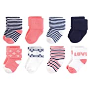 Touched by Nature Baby Organic Cotton Socks, Love 8Pk 0-6 Months