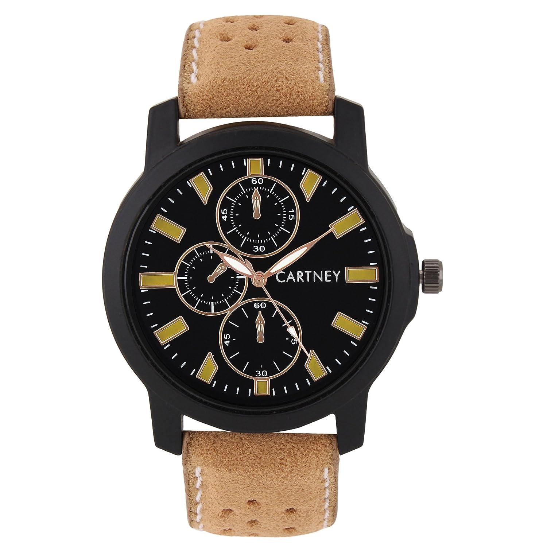 CARTNEY Stylish Analogue Black Dial Leather Strap Round Shape Men's Watch - C44-Y5