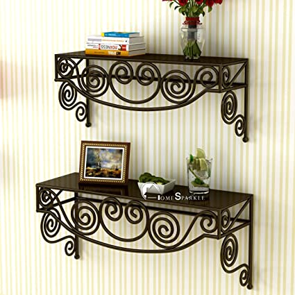 Beautiful Home Sparkle Mild Steel Rack (Set Of 2, Brown)