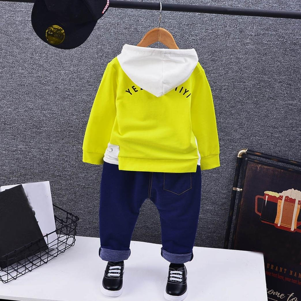 DIGOOD For 1-5 Years old Boys Stylish Letter Hoodie+Denim Pants 2Pcs Kids Outfits Clothes