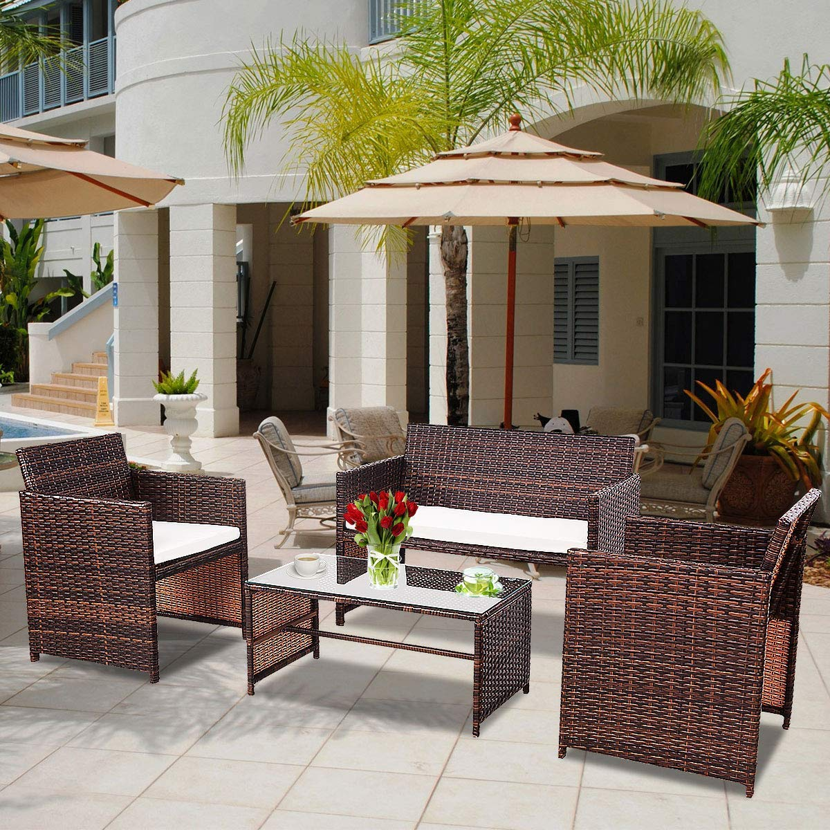 Tangkula AM1485HM Rattan Sofas Garden Lawn Poolside Cushioned Seat 4 pcs Wicker Set Outdoor Patio Furniture