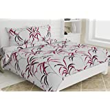 haus & kinder Fall Autumn Leaves 100% Cotton Bedsheet King Size with 2 Pillow Covers, 186 TC, King Size (Pink)