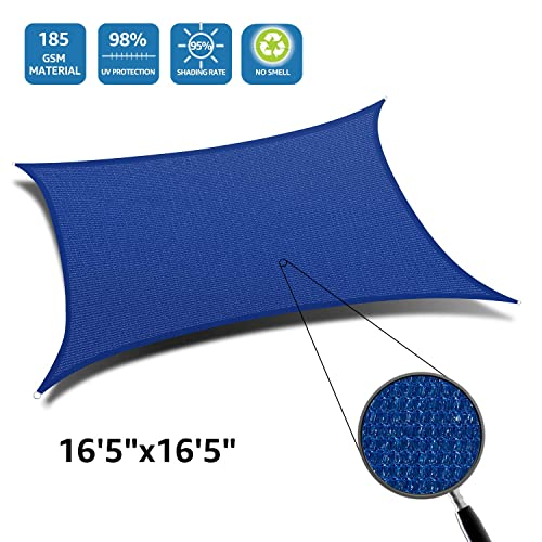 DOEWORKS Rectangle 16 5 x16 5 Sun Shade Sail, UV Block for Outdoor Patio Garden Facility and Activities, Blue