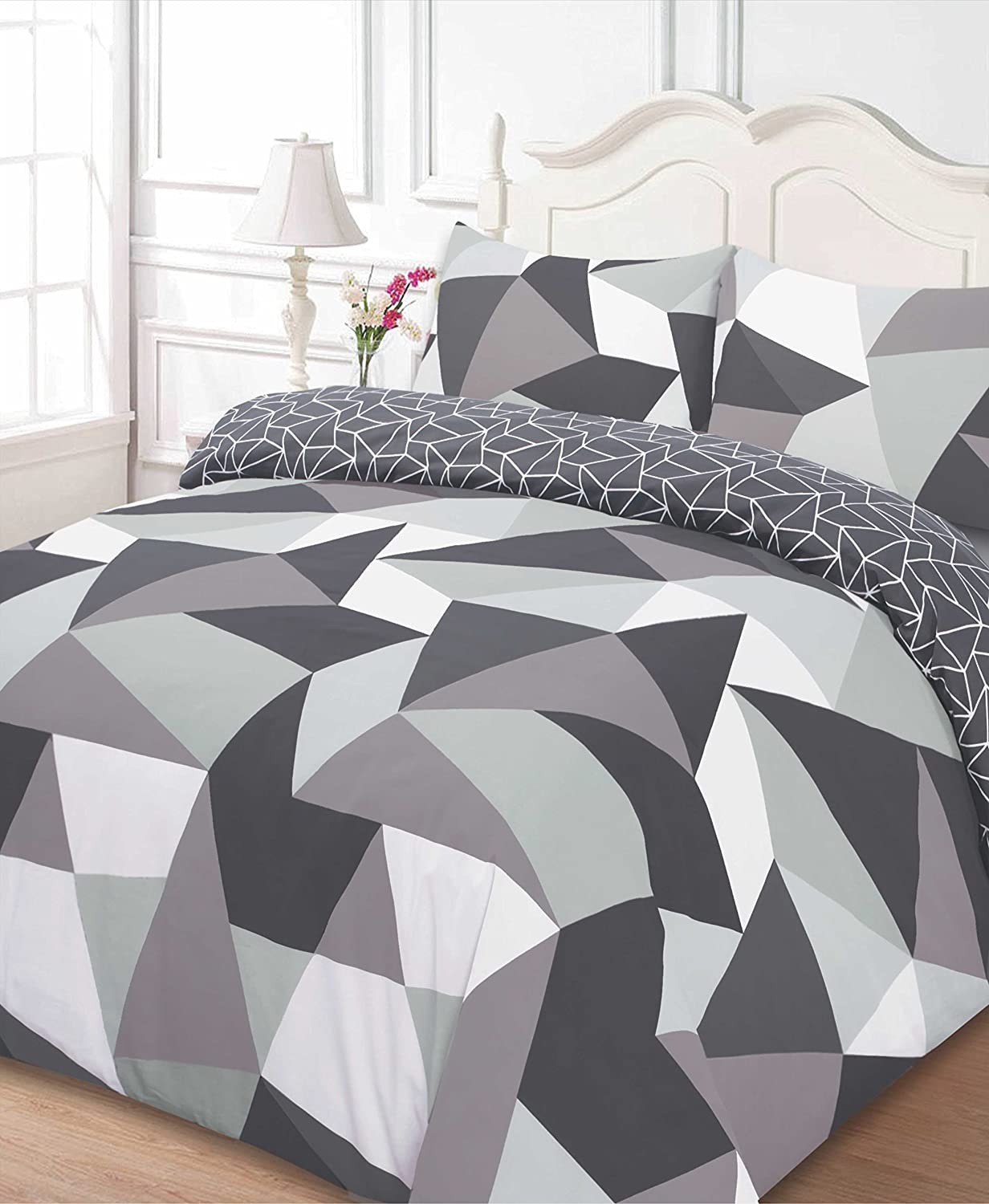 Dreamscene Polycotton Duvet Cover with Pillow Case Bedding King - Shapes Black SHABK03
