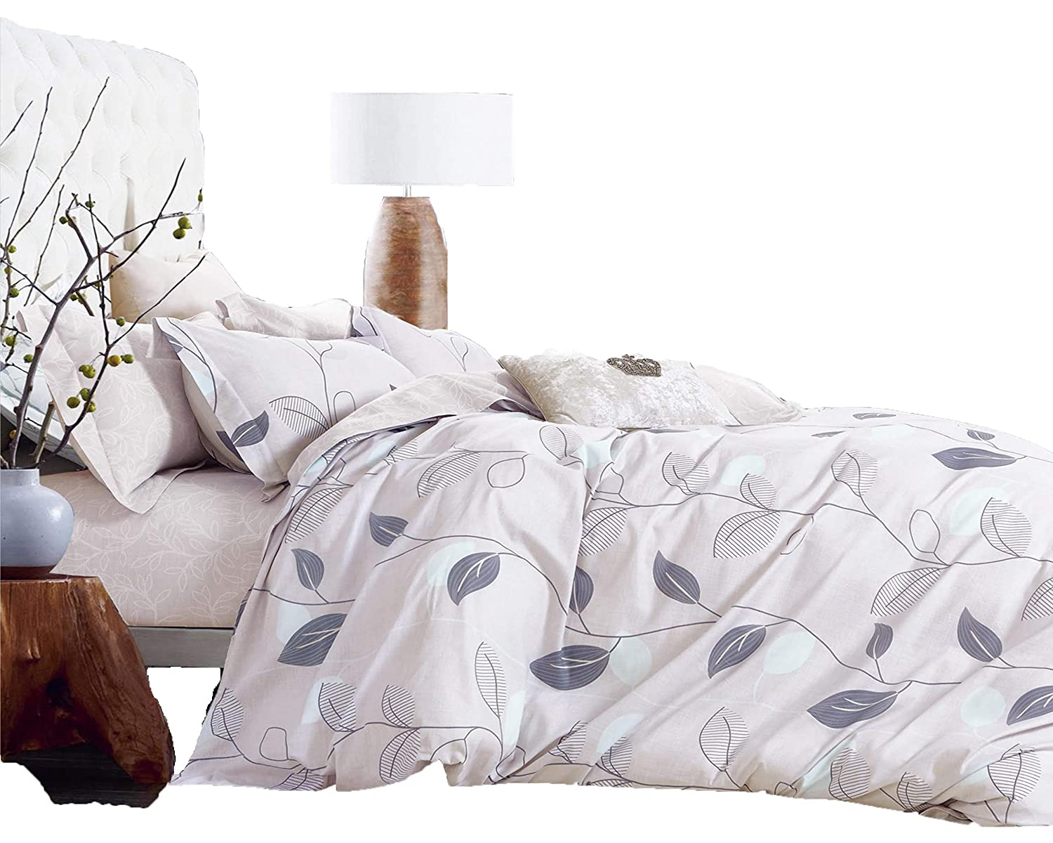 Swanson Beddings Elegant Leaves 3-Piece 100% Cotton Bedding Set: Duvet Cover and Two Pillow Shams (Queen)