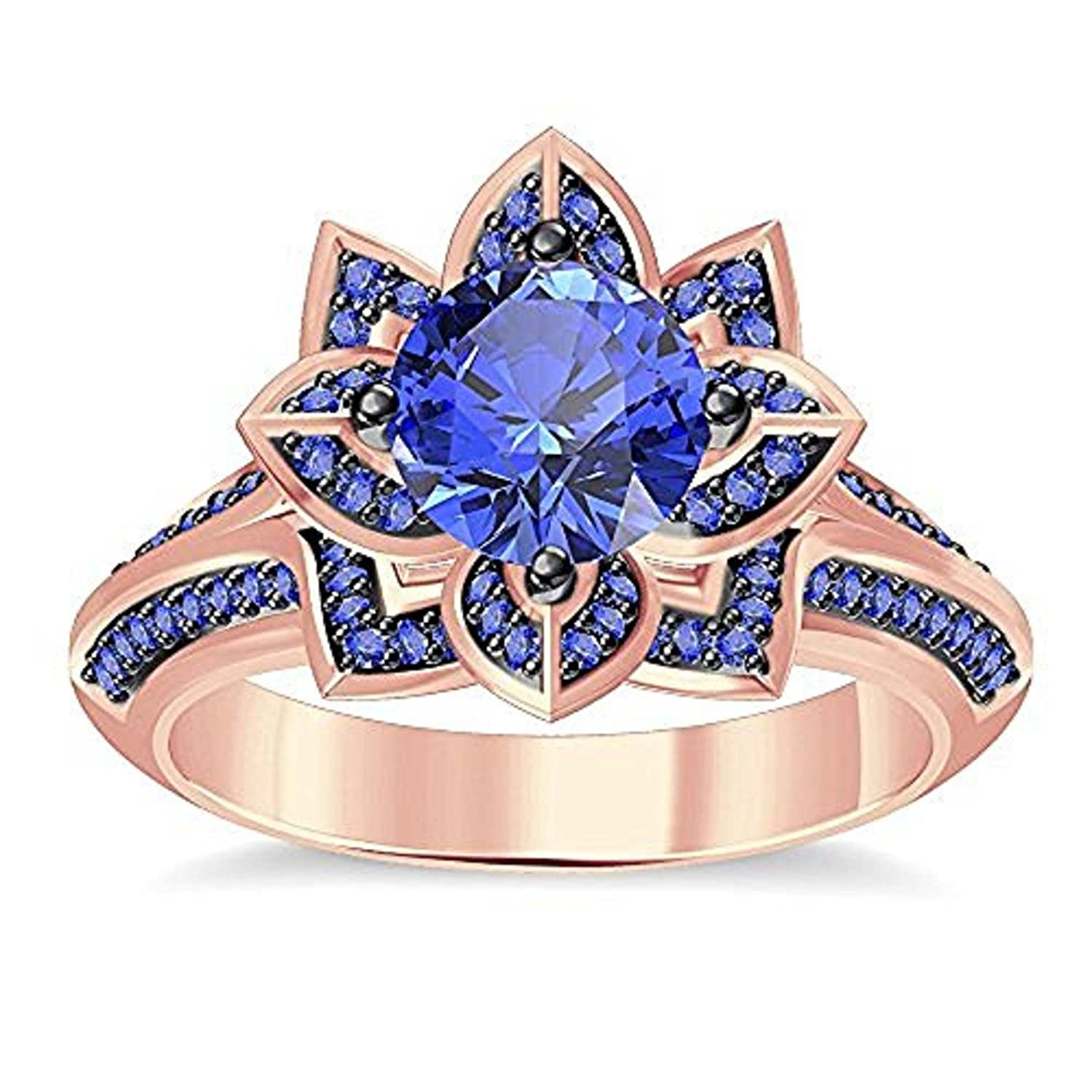 DS Jewels Womens 14K Gold Plated Alloy Round Cut Created Blue Sapphire Beautiful Lotus Flower Ring Engagement Wedding Ring Size 4 to 11