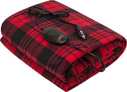 """Sojoy iHealthComfort 12V Electric Heated Travel Blanket with Intelligent Temp Controller 30/60/90 mins Timer High, Medium, Low 60""""x 40"""" (Black and Burgundy) BHO-005"""
