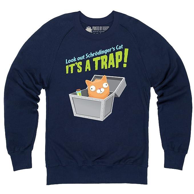 Schrodingers Cat - Its A Trap! Sudadera de cuello redondo, Para hombre, Azul