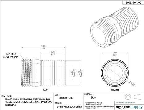 Dixon St20 Unplated Steel Hose Fitting King Combination Nipple