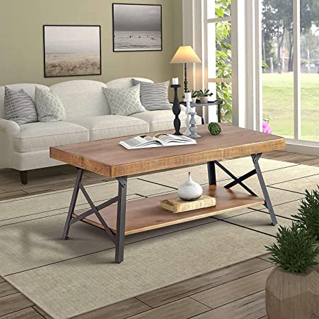 Amazon Com 43 Rectangle Coffee Table With Storage Shelf Metal Legs 2 Tier Rustic Style Wood End Table For Living Room Easy Assembly Kitchen Dining