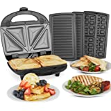 VonShef 3-in-1 Sandwich Toaster, Waffle Maker & Grill   Toastie Maker with Non-Stick Removable Plates   Stainless Steel   700W