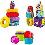 LAMAZE Play with Me Bundle - Pile & Play Cups (6M+), Rainbow Rings (6M+), Mix & Match Activity Blocks (9M+), Multi…
