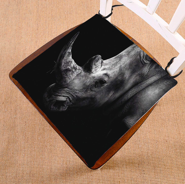 HandsToMeB Animal Chair Pad, Rhino Black and White Seat Cushion Chair Cushion Floor Cushion Two Sides Size 18x18 inches