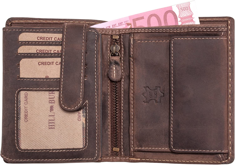 portafoglio uomo in VERA PELLE beige e marrone borsellino con portamonete grande