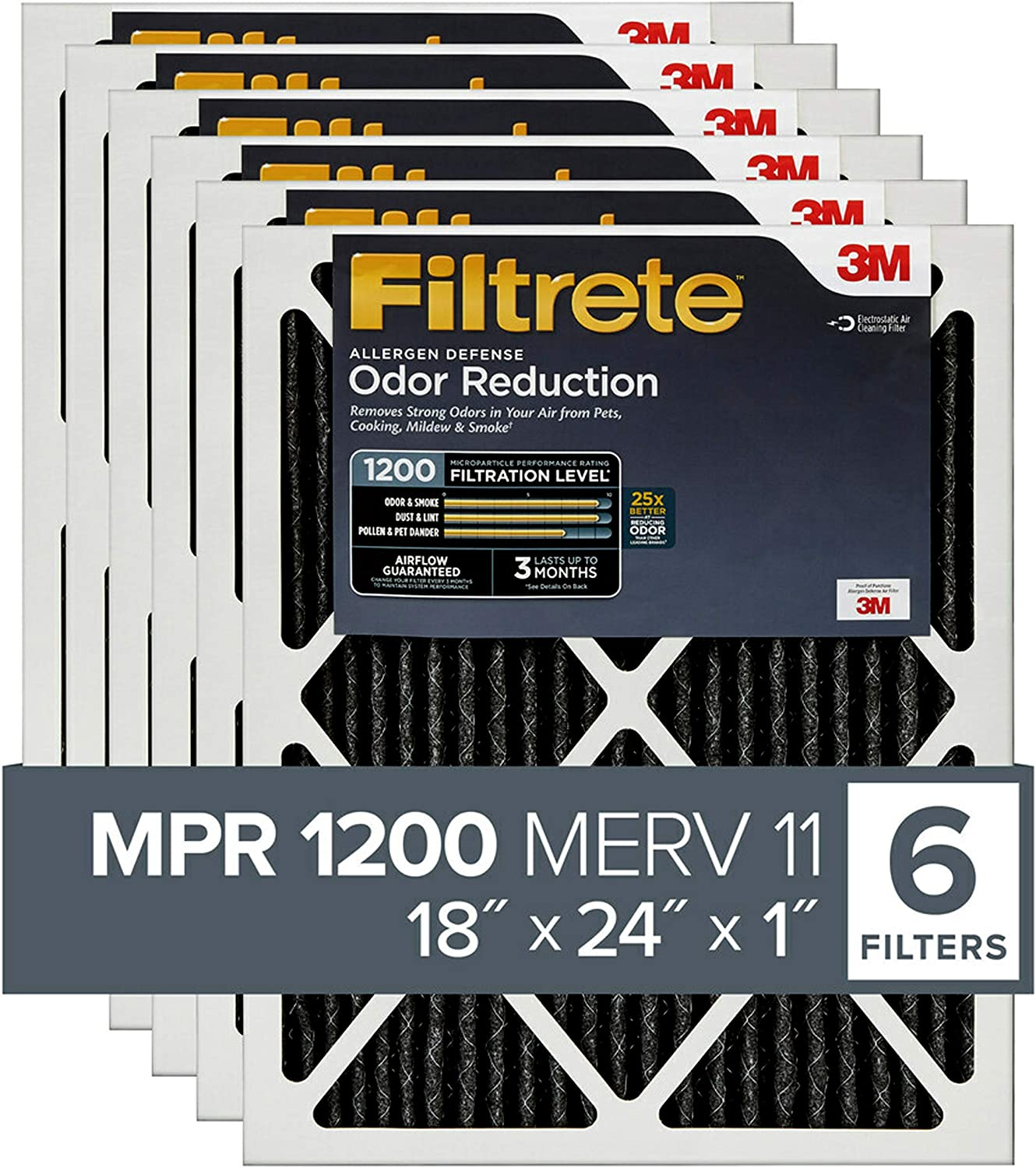 AC Furnace Air Filter Allergen Defense Odor Reduction Filtrete 20x20x1 MPR 1200 exact dimensions 19.69 x 19.69 x 0.81 2-Pack