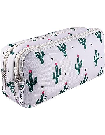 SIQUK Pencil Case Large Capacity Pen Case Double Zippers Cactus Pen Bag  Office Pen Holder Organizer cc99b7fcbe25d