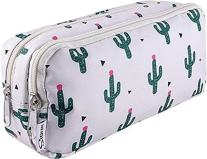 SIQUK Estuche de lápices de gran capacidad Cremalleras dobles Bolso de la pluma de cactus Organizador del sostenedor de la pluma del bolso inmóvil con los compartimientos: Amazon.es: Oficina y papelería