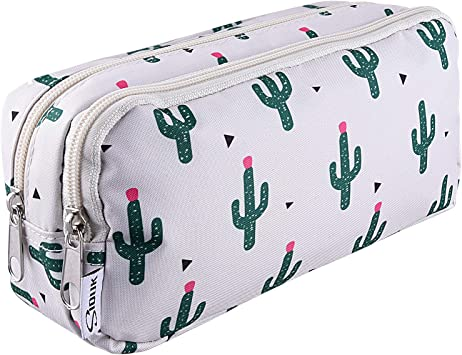 Siquk Pencil Case Large Capacity Pen Case Double Zippers Cactus Pen Bag Office Pen Holder Organizer Stationery Bag Cosmetic Bag With Compartments For Girls Boys And Adults Amazon Co Uk Office Products