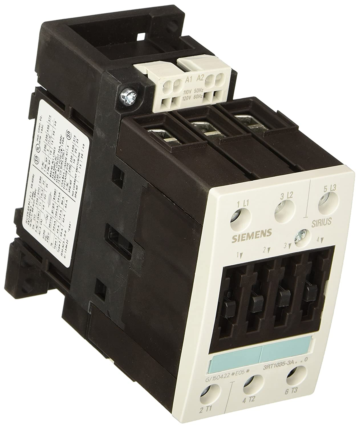 Siemens 3RT10 35-3AK60 Motor Contactor 3 Poles Spring Loaded Terminals S2 Frame Size 120V at 60Hz and 110V at 50Hz AC Coil Voltage 3RT10353AK60