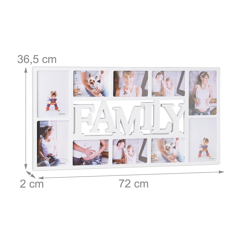 Amazon.de: Relaxdays Bilderrahmen Familie, Fotorahmen für 10 Bilder ...