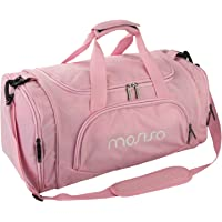 Mosiso Polyester Fabric Foldable Travel Luggage Multifunctional Duffels Lightweight Shoulder for Men/Ladies Gym Bags, Sports, Vacation, Pink